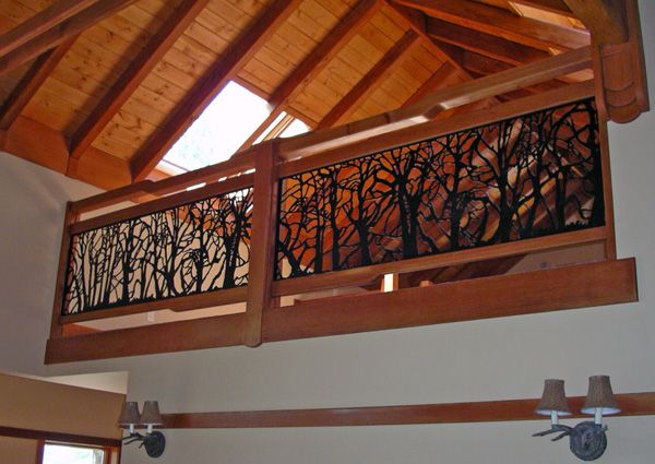 Loft railing designed and executed by Tyson Read with metal work by JDub,  Winters Cabin