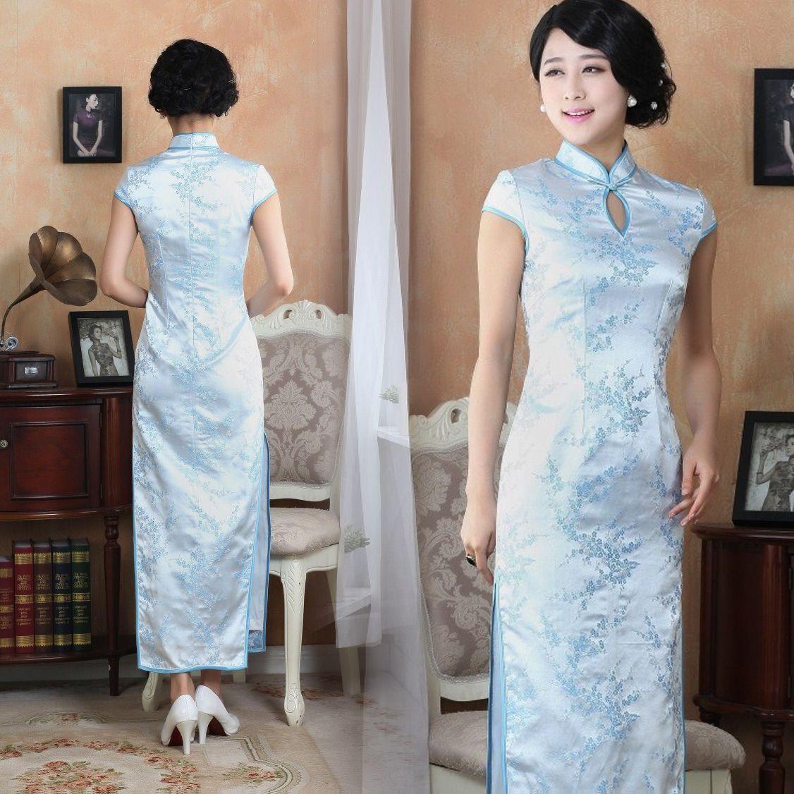 Light blue cherry blossom floral silk brocade qipao sleeveless long