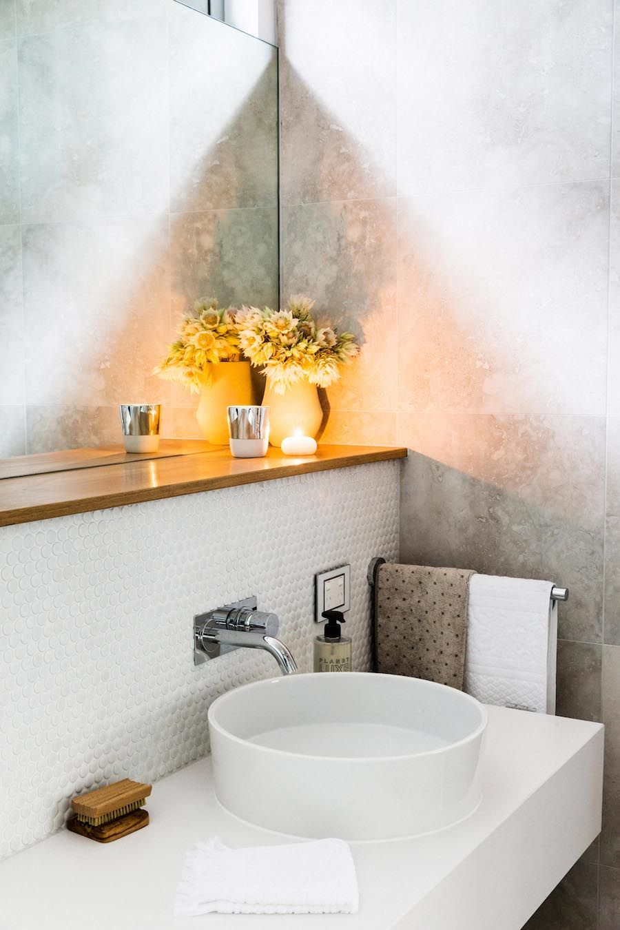 bathroom small space design%0A Marble penny round wall tiles l Wooden shelf l Modern chandelier l Ultimate  laundry and powder