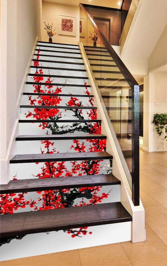 3D Red Flower SS0930 Pattern Tile Marble Stair Risers Decoration Photo Self-adhesive Mural Vinyl Decal Wallpaper Murals Wallpaper Mural