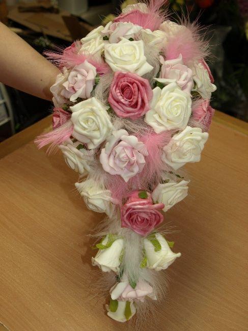 A beautiful artificial foam flower teardrop bouquet in various ...