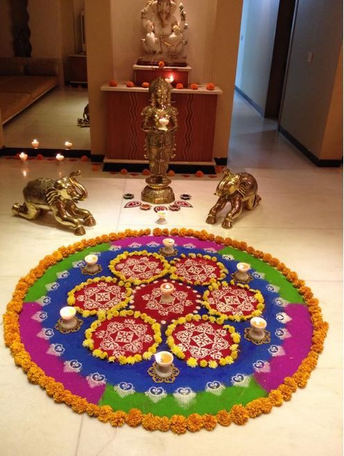 Pooja room rangoli designs rangoli kolams pinterest for Room decoration ideas in diwali