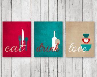 kitchen wall art print set eat drink love utensils wine brown rh pinterest com