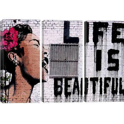 Life Is Beautiful by Banksy Canvas Print | Joss & Main