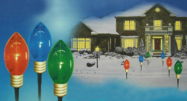 set of 3 lighted multi color mighty light c7 shape christmas pathway markers