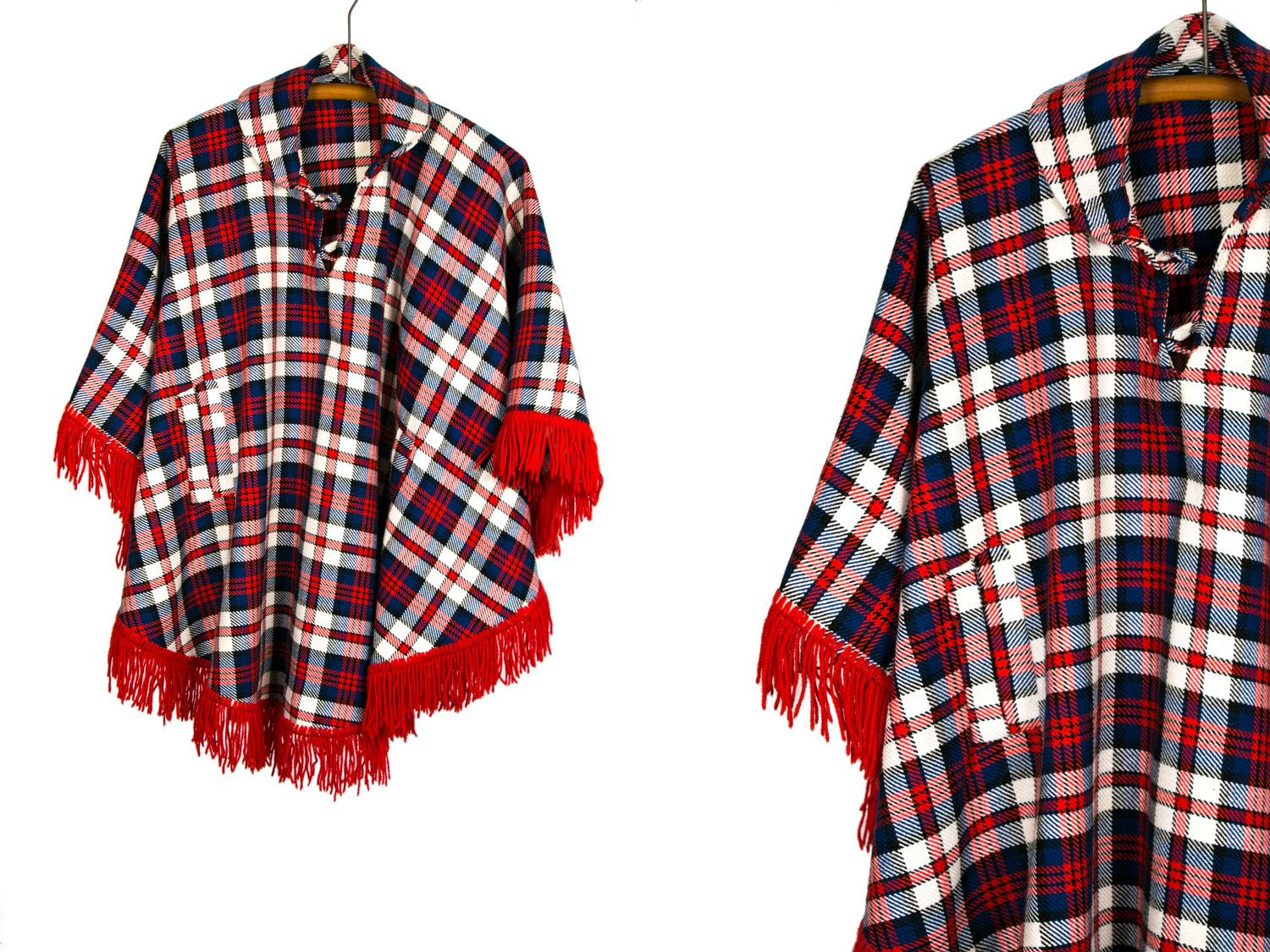 0c657b2f2a4 Vintage 60 s 70 s Plaid Checkered Multicolored Poncho With Fringe Women s  One Size
