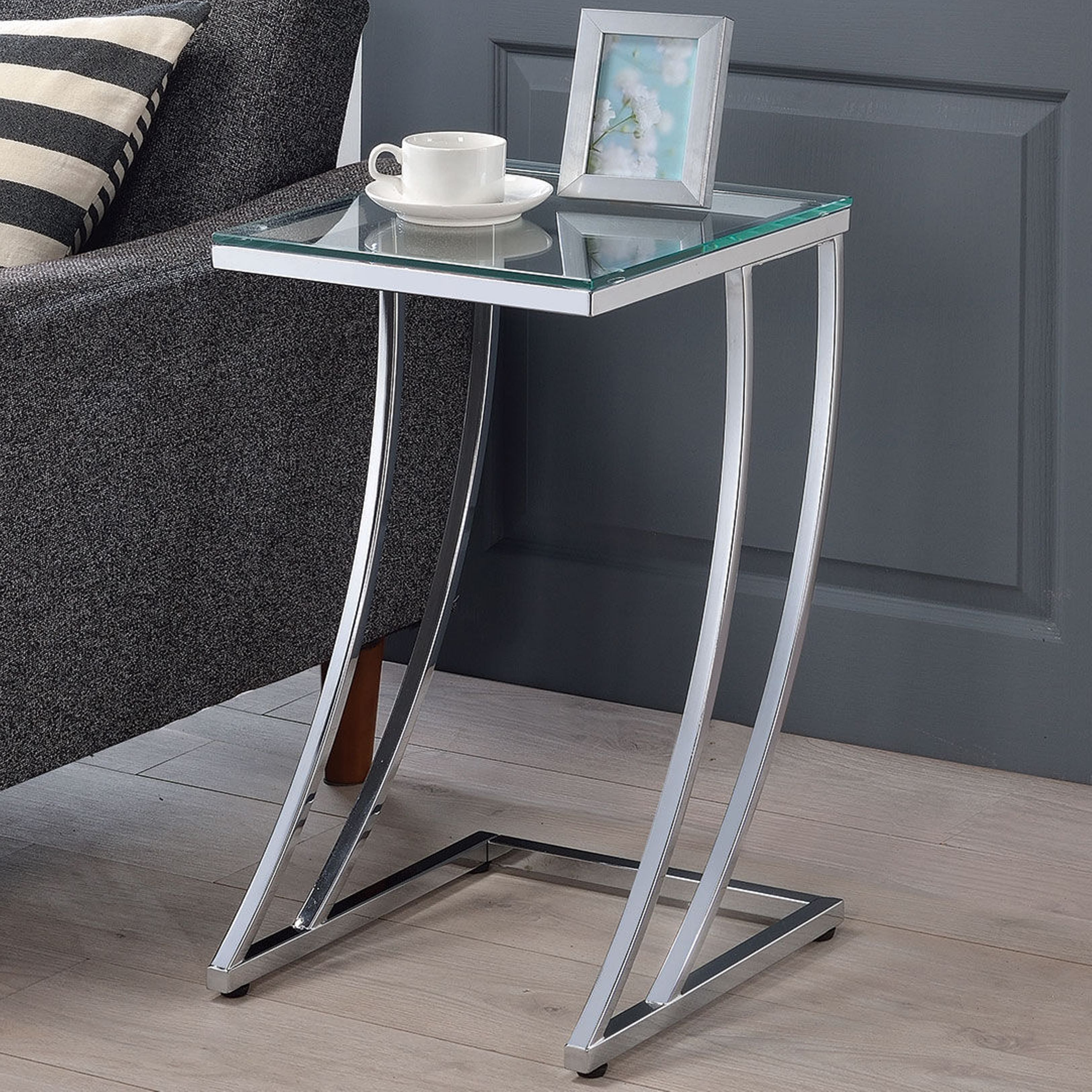 modern design chrome accent table with tempered glass top silver rh pinterest ca