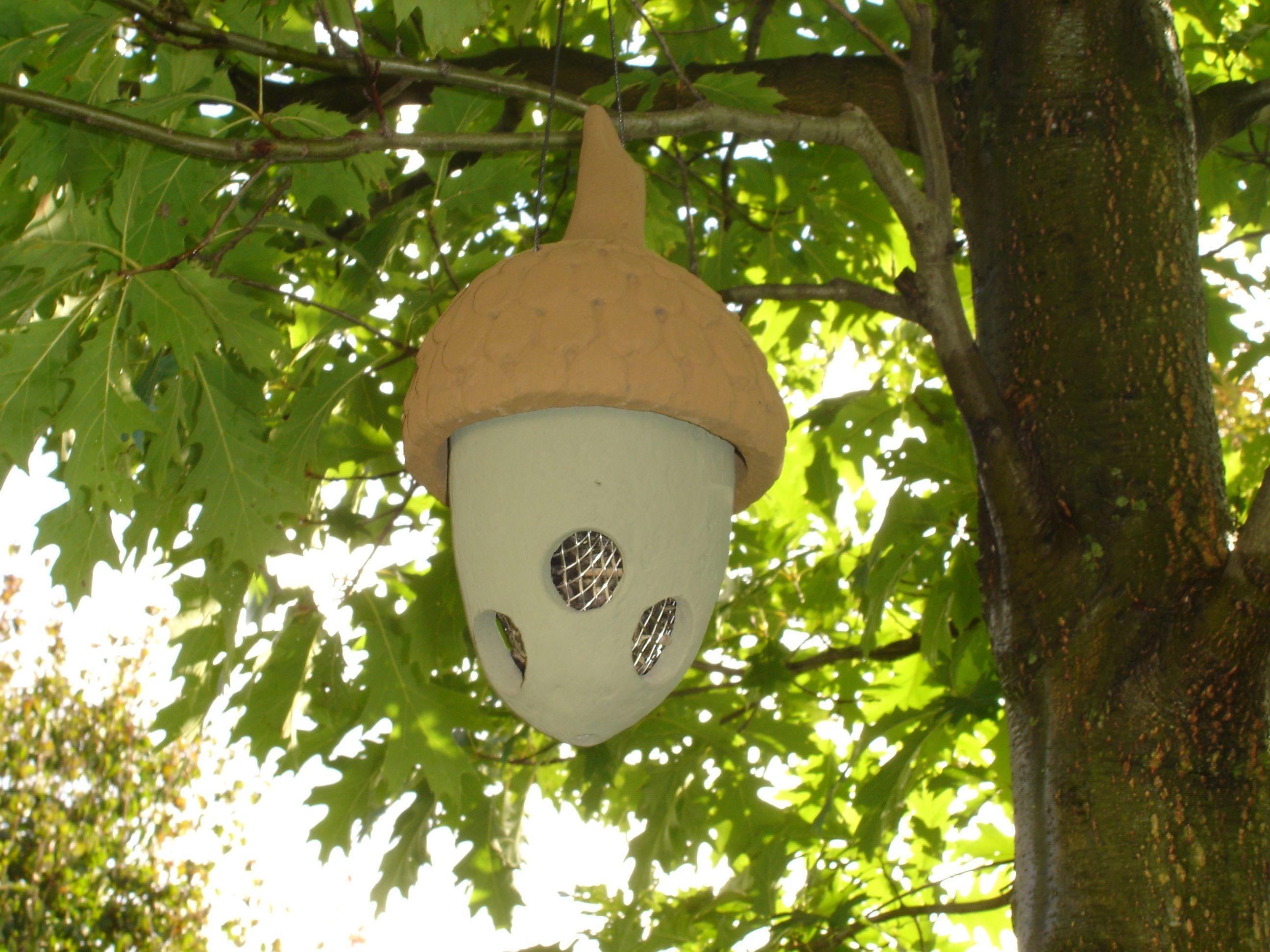 Ceramic acorn bird feeder I picked up at a craft show.