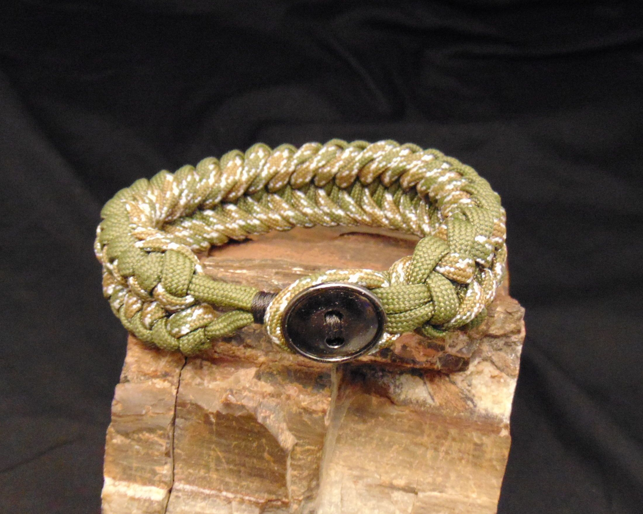 Od green and camp sanctified bracelet with button closure