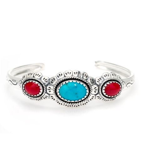 Carolyn Pollack Turquoise & Coral Cuff Sterling Silver