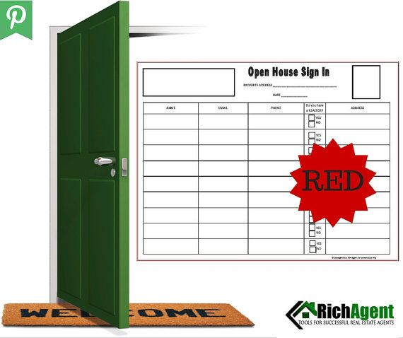 Keller Williams ReMax Red Open House Sign In Sheet Real Estate