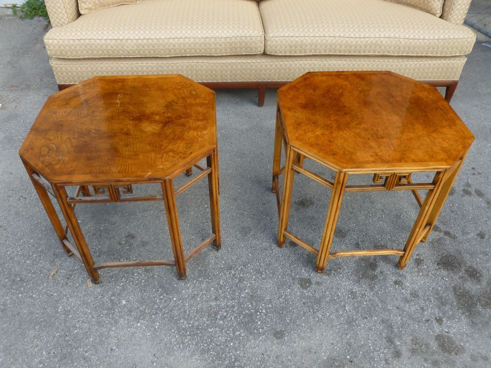 WONDERFUL VINTAGE ENGLISH STYLE OCTAGONAL CHINESE CHIPPENDALE BURL WOOD  TABLES