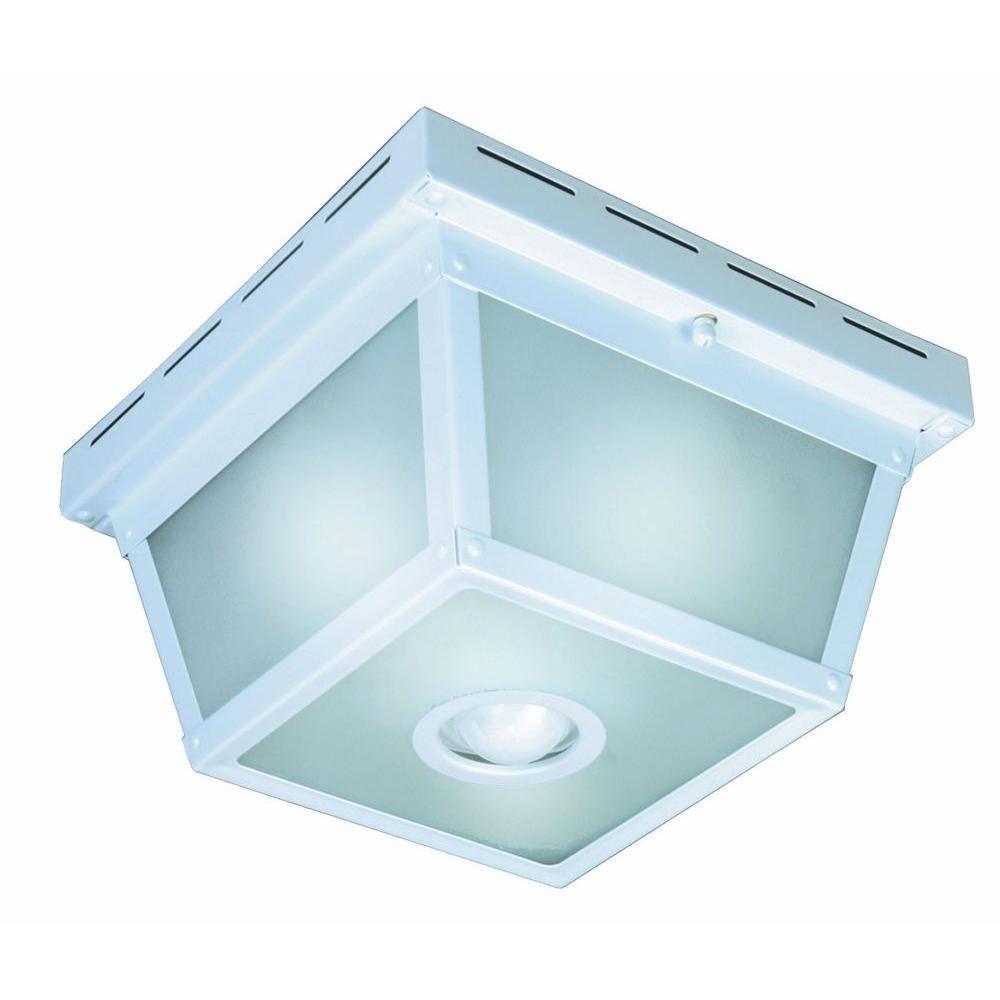 Square White Finish Motion Sensor Outdoor Ceiling Light