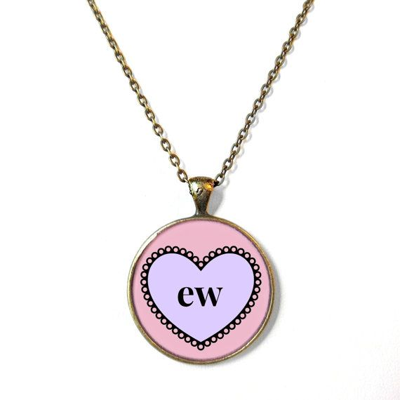 ew. Insult Conversation Heart Bronze Necklace - Pop Culture Anti Valentine's Day Jewelry - Funny Pastel Goth Pendant