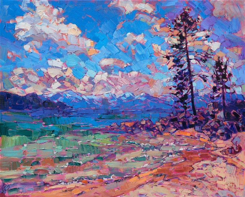 Lake Tahoe Landscape Oil Painting In A Contemporary Impressionist Style By Erin Hanson Art Art Inspiration Impressionist Art