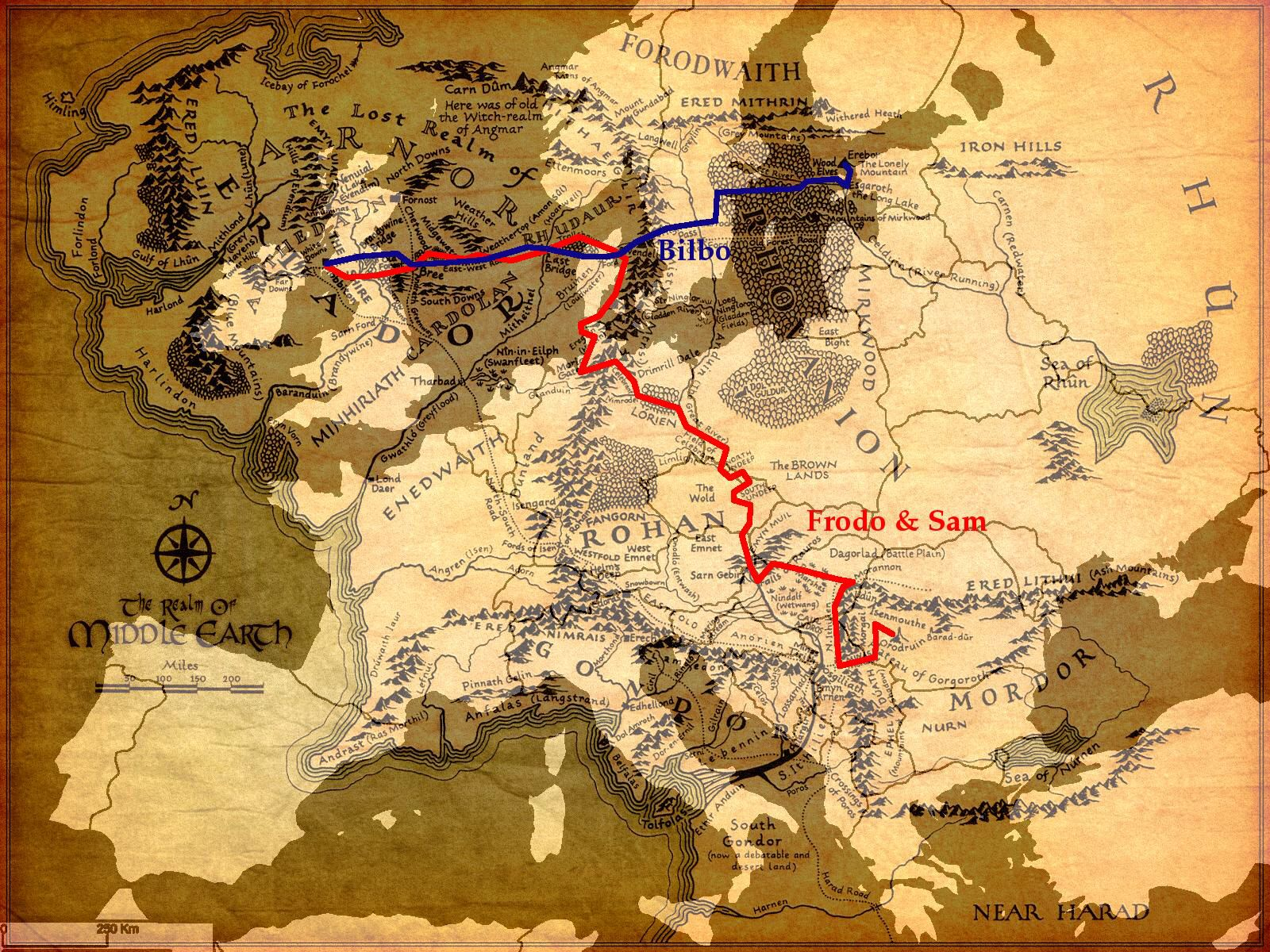 Two long journeys Middle Earth superimposed