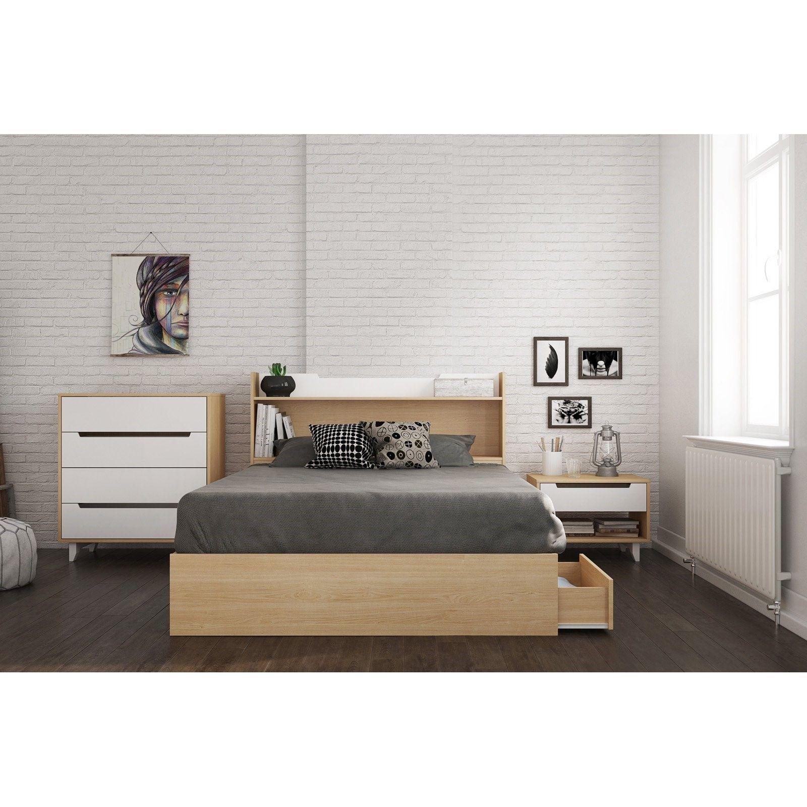 nexera karlstad 3 drawer natural maple storage bed brown in 2019 rh pinterest com