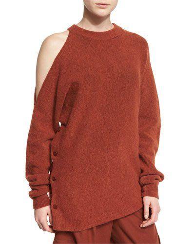 TCN6N Tibi Cozy Cutout Melange Sweatshirt, Burnt Paprika