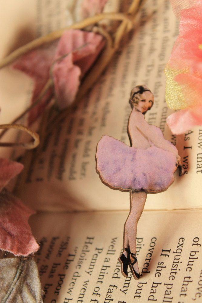 Little Ballerina Wooden brooch. €9.00, via Etsy.