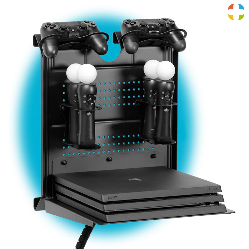 Check Out This Gameside Bundle Move With Me Game Console Horizontal Wall Mount With Multicolor Led Light Create For Your Passion In 2019 Metal Floating Shelves Floating Shelves Floating Shelf Decor