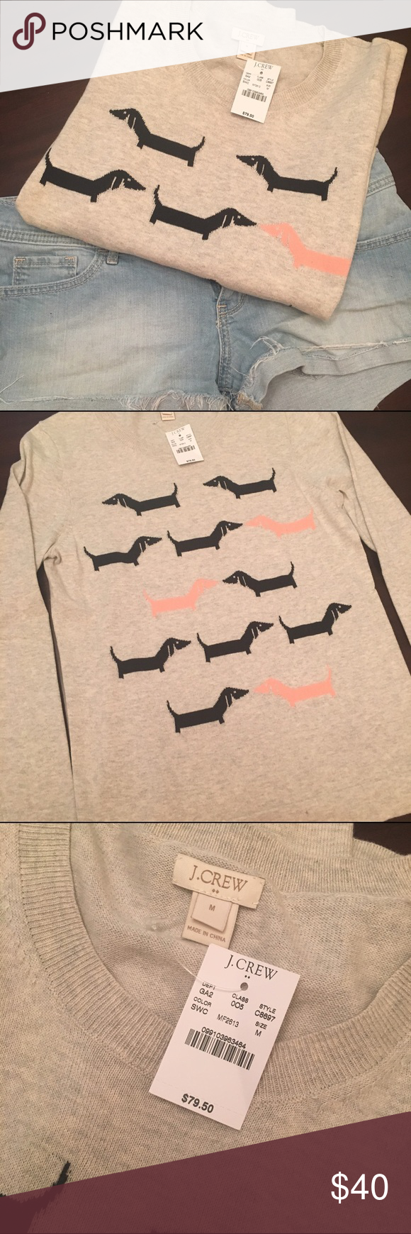 J. CREW dog sweater Grey sweater with black and pink dachshund dogs. New with tags J. Crew Sweaters