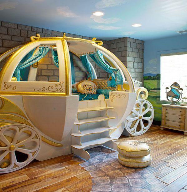 Kids Bedroom, Little Girl Pumpkin Carriage Bed