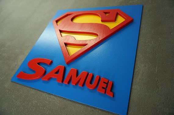 Customized Superhero Superman with mame wooden wall art & Customized Superhero Superman with mame wooden wall art | decoraçao ...