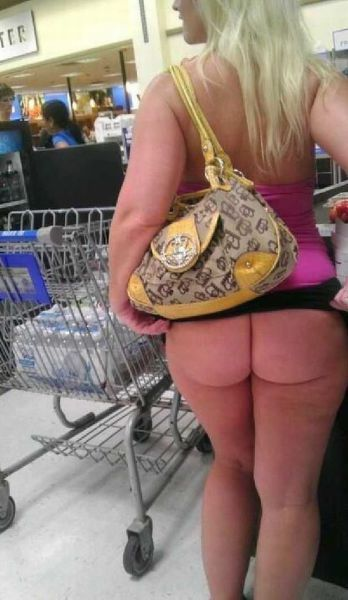 Fat woman mooning