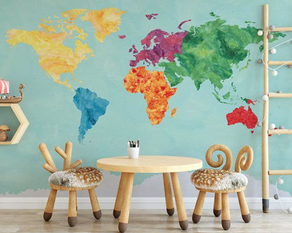 Rainbow watercolor map wallpaper map wall mural self adhesive rainbow watercolor map wallpaper map wall mural self adhesive reusable removable wallpaper peel and stick gumiabroncs Image collections