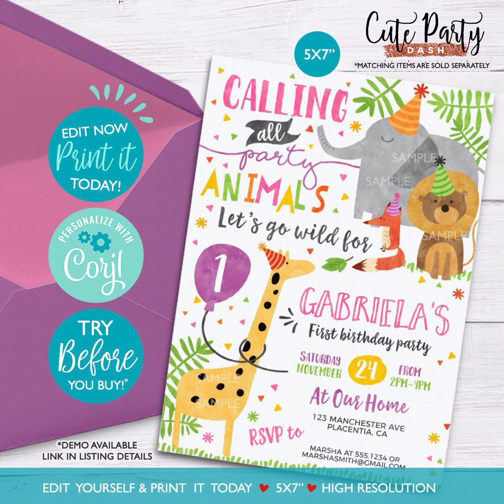 INSTANT DOWNLOAD EDITABLE Party Animal Invitation Girl