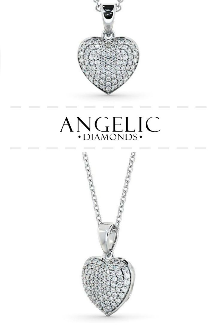 Heart shaped diamond 040ct cluster pendant 18k white gold simple heart shaped diamond cluster pendant in 18k white gold this simple diamond pendant necklace features an assortment of round shaped diamonds that aloadofball Gallery