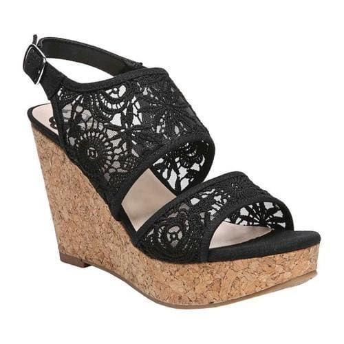 1f14ba19b726 Women s Fergalicious Krazy Platform Wedge Sandal Black Floral ...