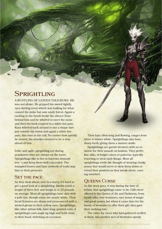 Dnd Homebrew Race Sprightling Dungeons And Dragons Races Dnd 5e Homebrew Dnd Races