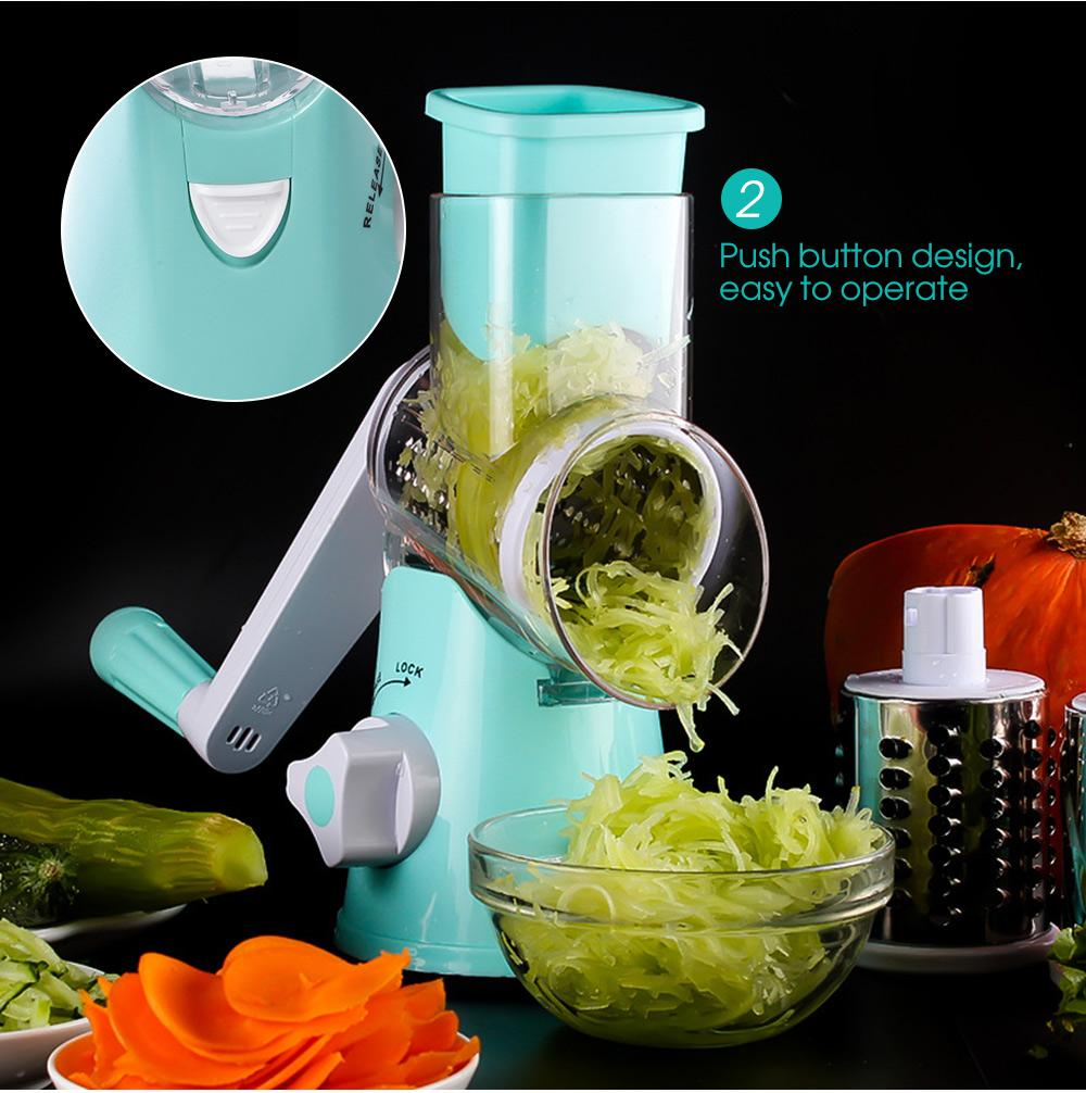 Manual Hand-operated Vegetable Slicer Cutter 3 Stainless Steel Blade ...