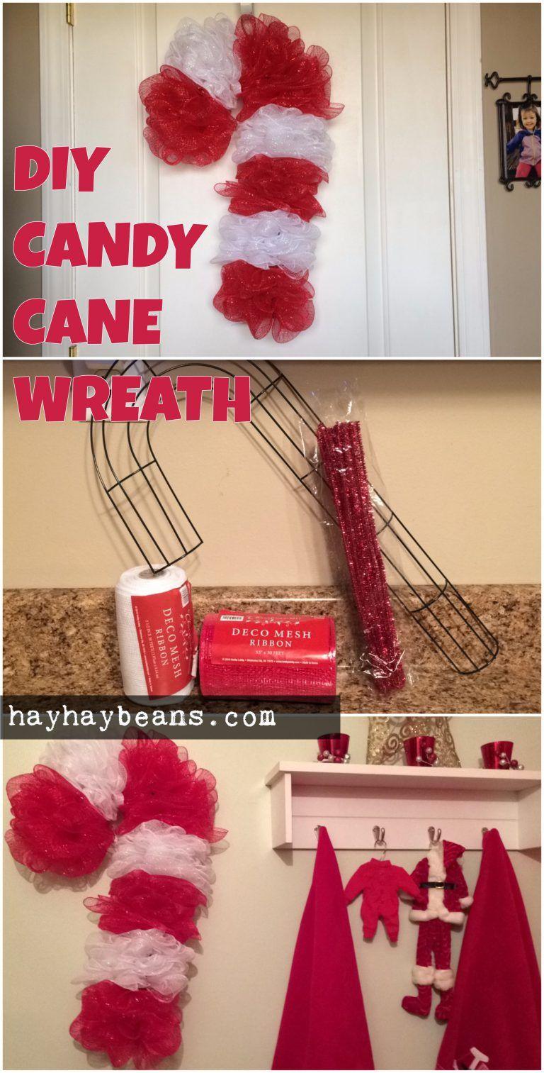 pinterest candy cane diy wreath #candycanewreath