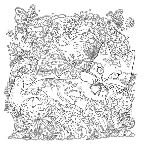 Mystical Cats In Secret Places A Cat Lovers Coloring Book I Waves Of Color