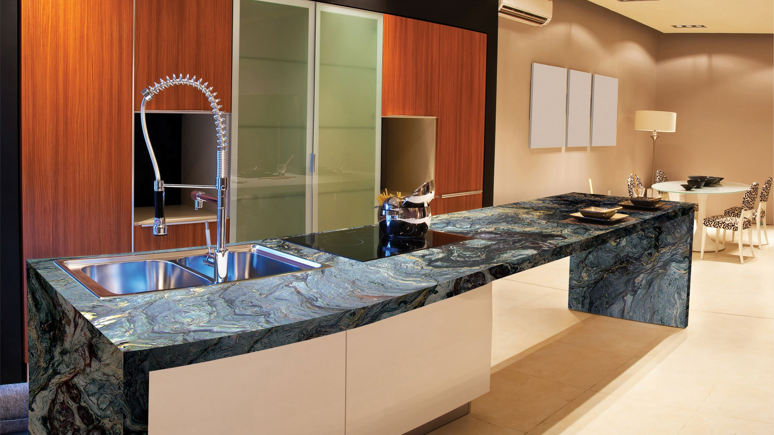 Marinace gold omicron granite tile fernie kitchen for Cost of caesarstone countertops