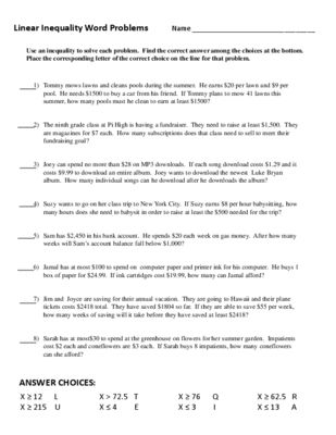 Inequalities Word Problems Worksheet Self Checking From The Math Factory On Teachersnotebook 1 Page