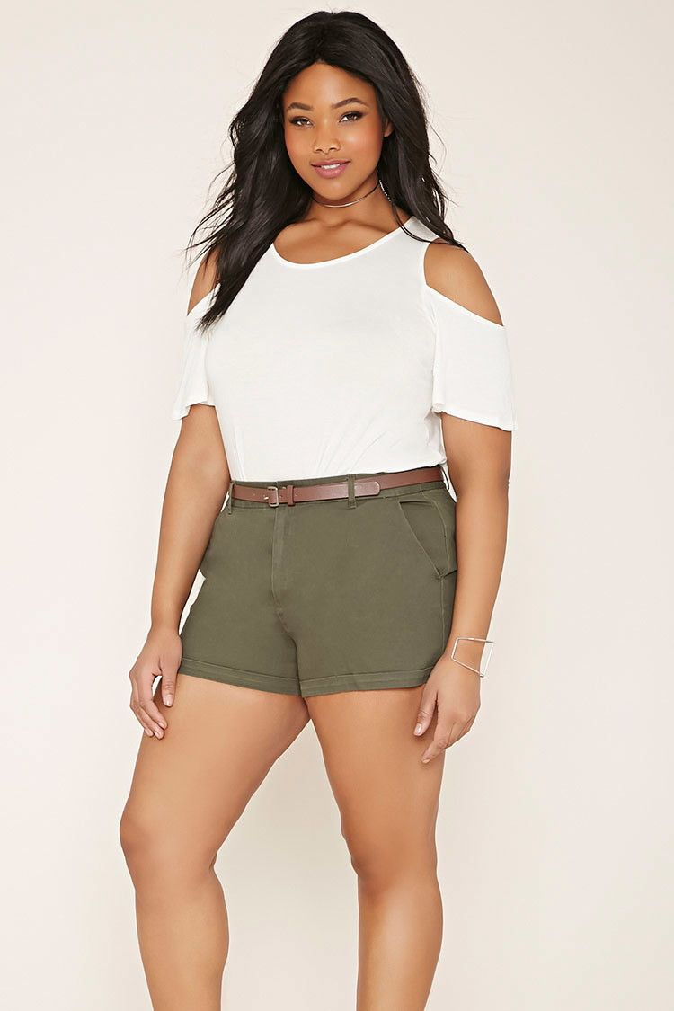 Plus Size Belted Shorts   Forever 21 PLUS - 2000187022 ...