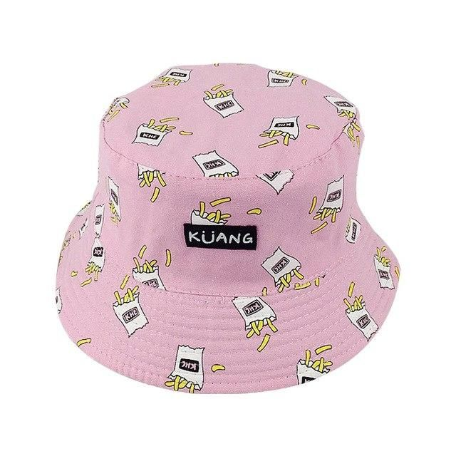 Summer White Banana Printed Bucket Hats Outdoor French Fries Fishing Sun  Caps Women Girls Hat 2797a7ac00c