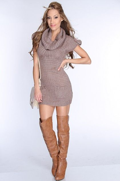 7db59a3fa17 Mocha Open Knitted Cowl Neck Sexy Sweater Dress   Amiclubwear Clothing