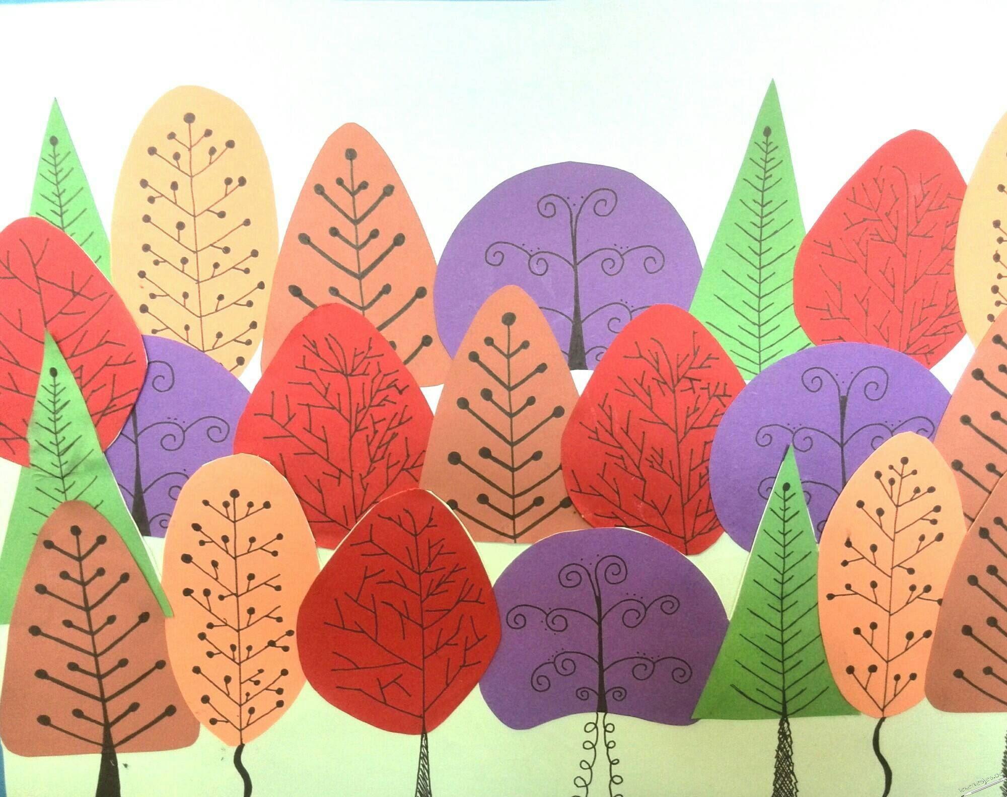 """Deze collage van een herfstbos is volledig geïnspireerd op de opdracht van 'The Lost Sock""""  Ik was op zoek naar een opdracht van overlappingen en aangezien we"""