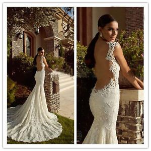 Details about Sexy Spaghetti Strap Wedding Dress Backless Lace ...