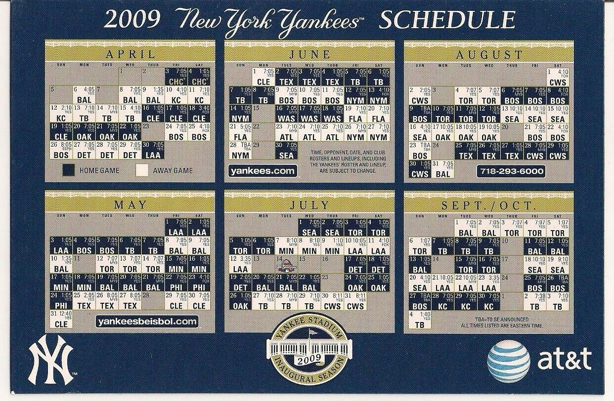 2009 New York Yankees Magnet Schedule At T In 2020 Yankees Schedule New York Yankees Yankees
