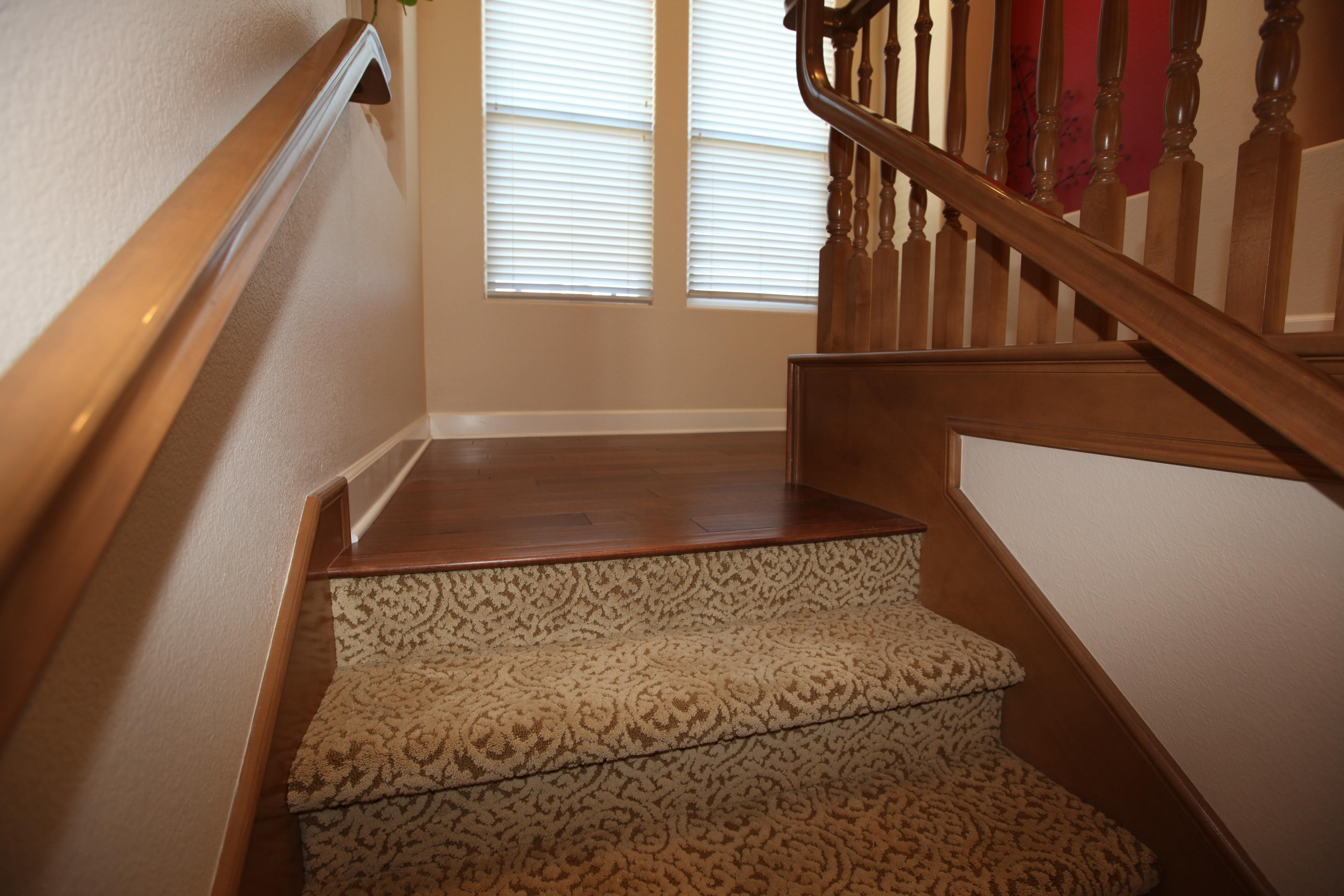 Carpet Stairs To Wood Floor Transition Wood Flooring Is The Most | Carpeted Stairs To Hardwood | Textured | Fully Carpeted | Staircase | Wall To Wall Carpet | Dark Wood