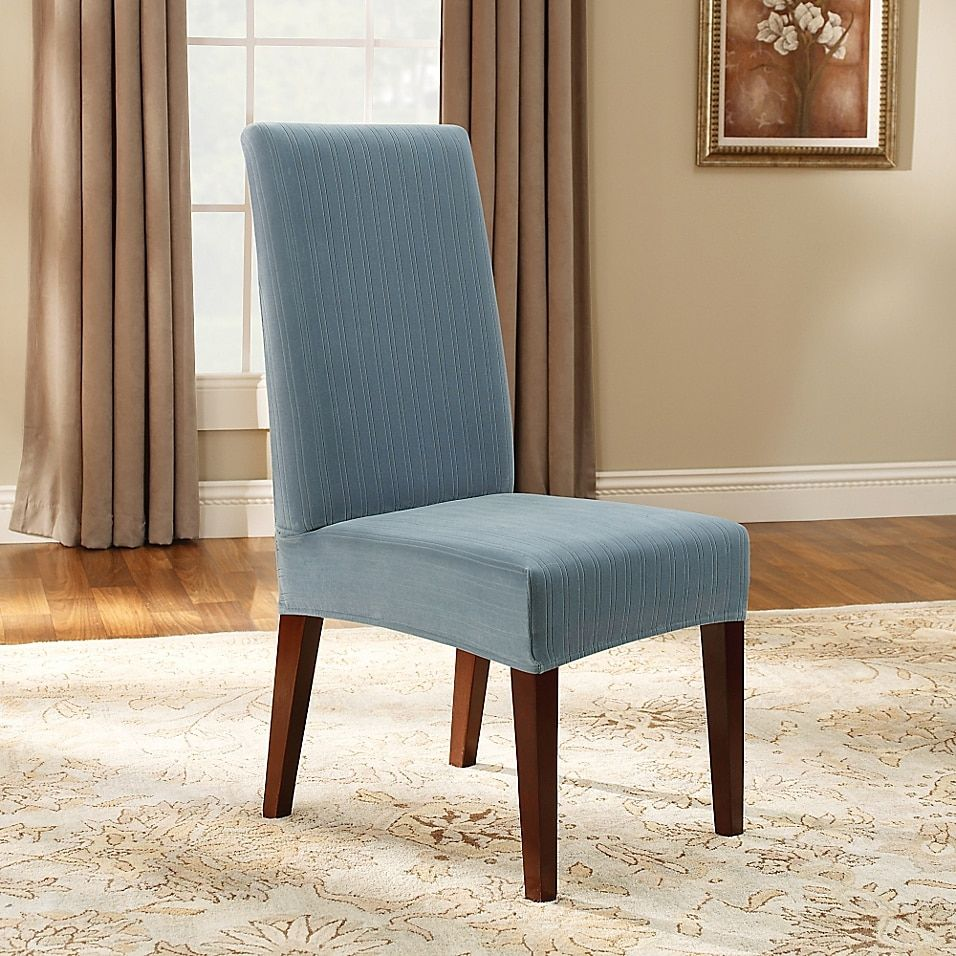 Sure Fit Stretch Pinstripe Short Dining Chair Slipcover Bed Bath Beyond Dining Room Chair Slipcovers Slipcovers For Chairs Dining Chair Slipcovers