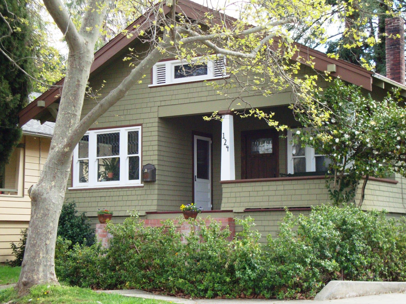 Sage Green House With White Trim And Brown Accents Linda Beam An Affection For S House Paint Exterior Green Exterior Paints Exterior Paint Colors For House