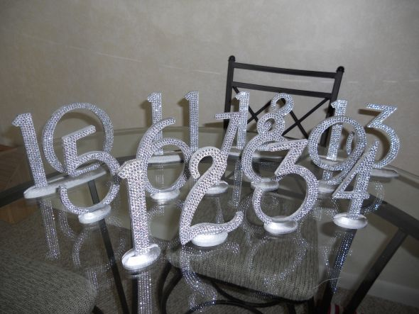 Table Numbers For Wedding Ideas diy wedding table number ideas Diy Bling Table Numbers But Maybe Spray Paint With Metallic Paint Cover With Glitter