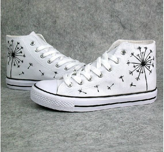 ea066a0fb93 customised white converse...hand painted dandelion-diy