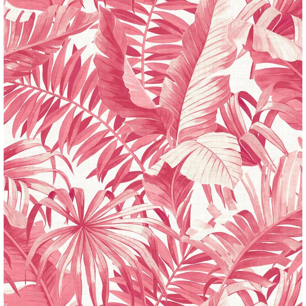 Lompoc Pink Alfresco Tropical Palm Paper Strippable Wallpaper Roll Covers 56 4 Sq Ft Br2969 26054 The Home Depot Palm Wallpaper Art Collage Wall Pastel Pink Aesthetic